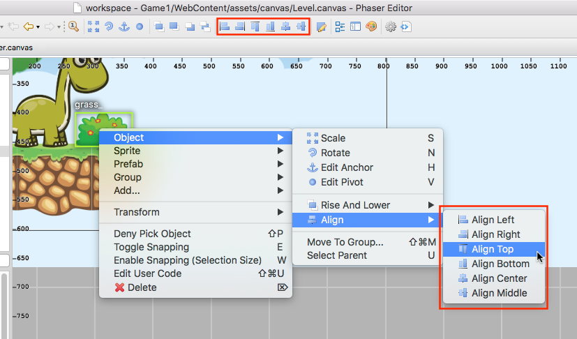 Canvas, The Scene Editor — Phaser Editor Help