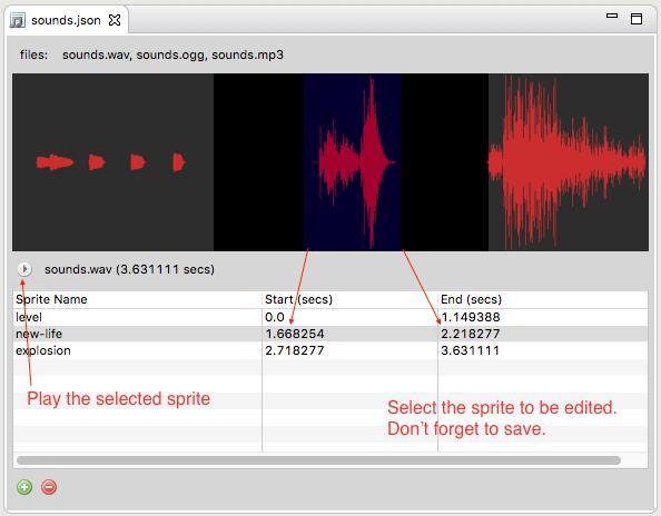 Audio Sprites Editor — Phaser Editor Help